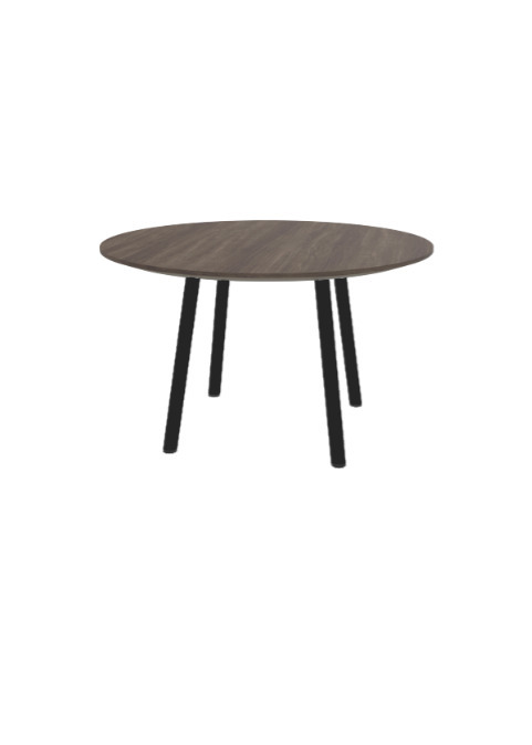 """Exchange Table with Round Dark Wood - 30""""w"""