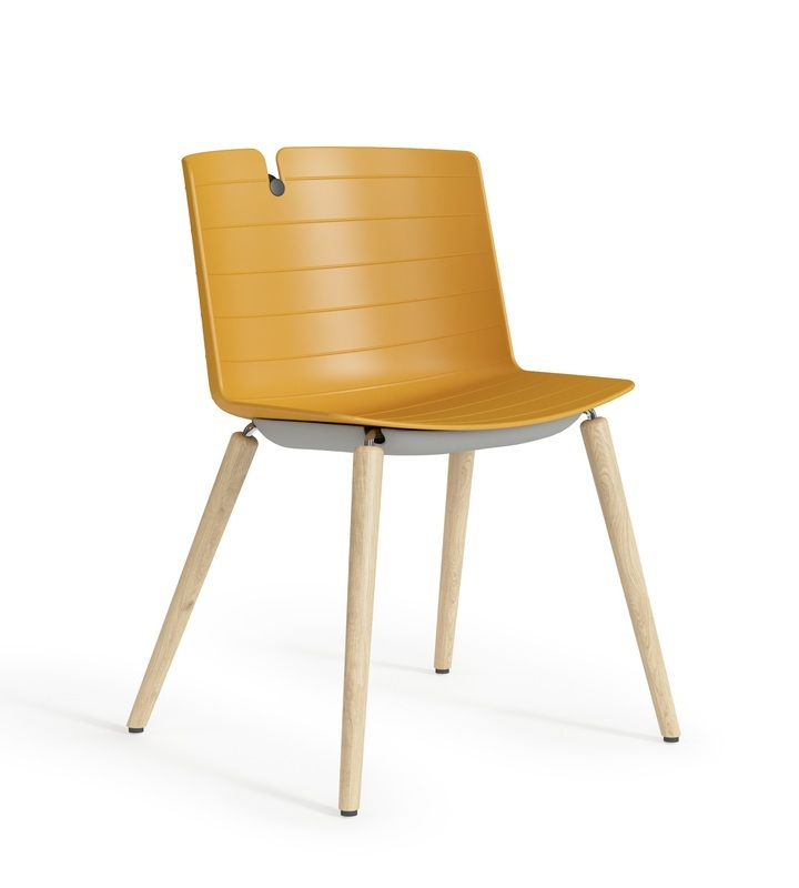 Clark Chair With All Plastic Body And Wood Base