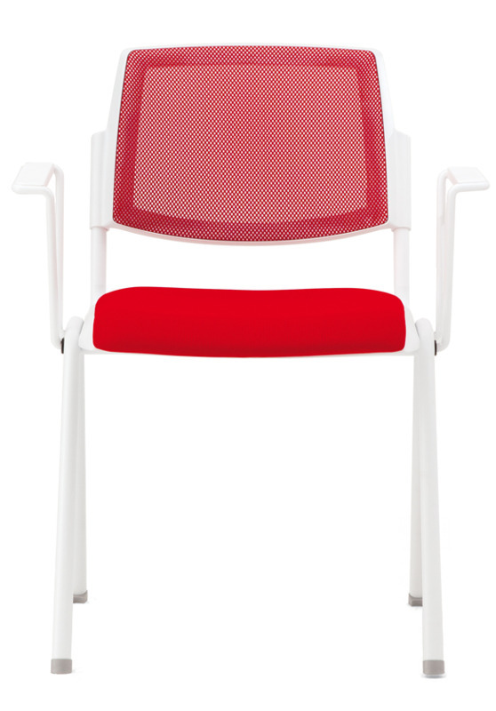 Dolly Chair, Mesh Back With Upholstered Seat And Armrests