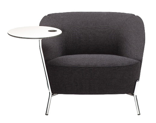 Nuvola Metal Base Lounge Chair With Tablet Arm