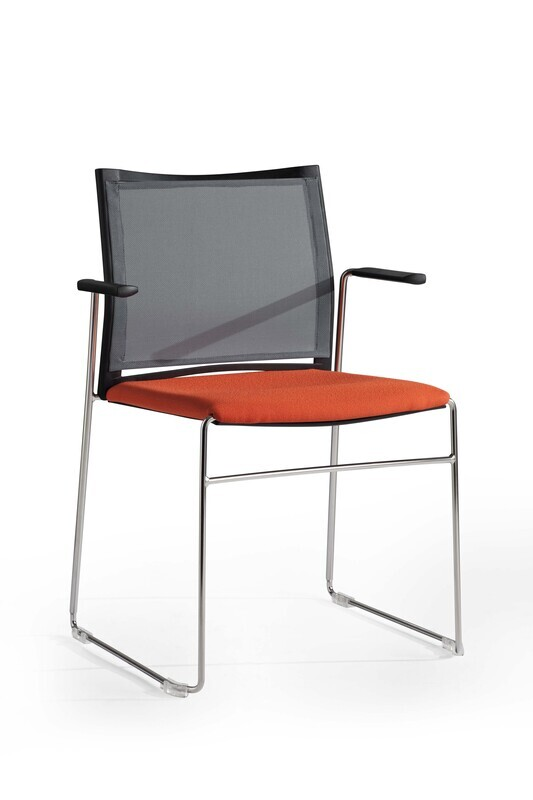 Wendy Chair, Sled Base, Mesh Back With Armrests