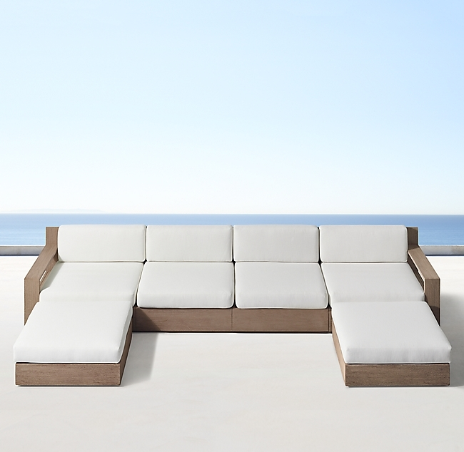 Marbella Weathered Teak Luxe Right-Arm Sofa-Chaise Sectional
