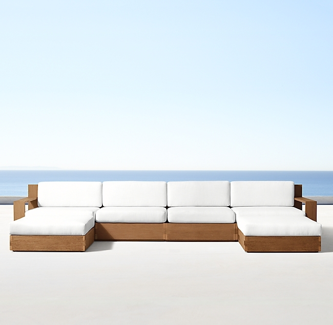 Marbella Natural Teak Luxe Right-Arm Sofa-Chaise Sectional
