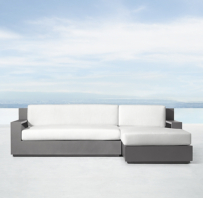 Marbella Slate Aluminum Luxe Right-Arm L-Sectional