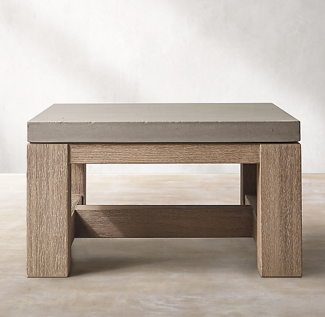 French Beam Concrete & Teak Side Table