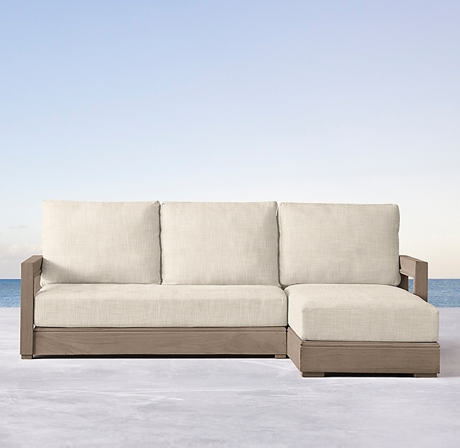 Costa Teak Luxe Right-Arm Sofa-Chaise Sectional