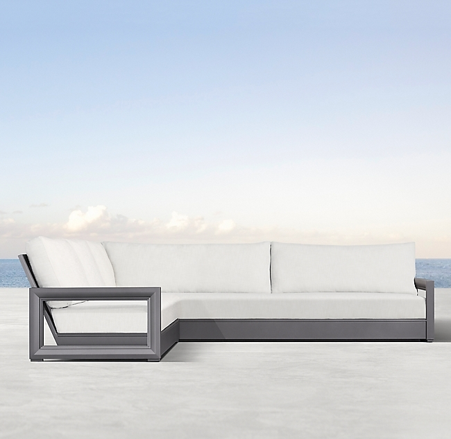 Costa Slate Aluminum Luxe Left-Arm L-Sectional