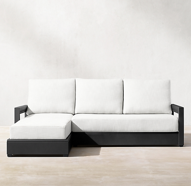 Costa Iron Aluminum Luxe Left-Arm Sofa-Chaise Sectional