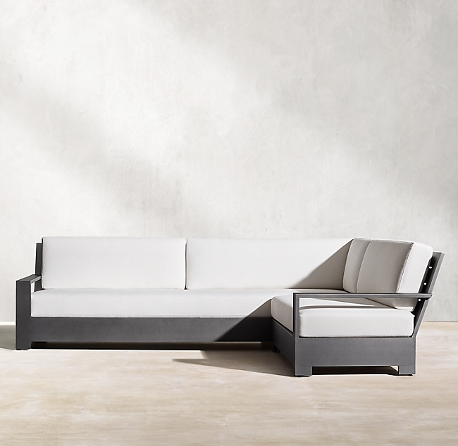 Belvedere Slate Aluminum Classic Right-Arm L-Sectional