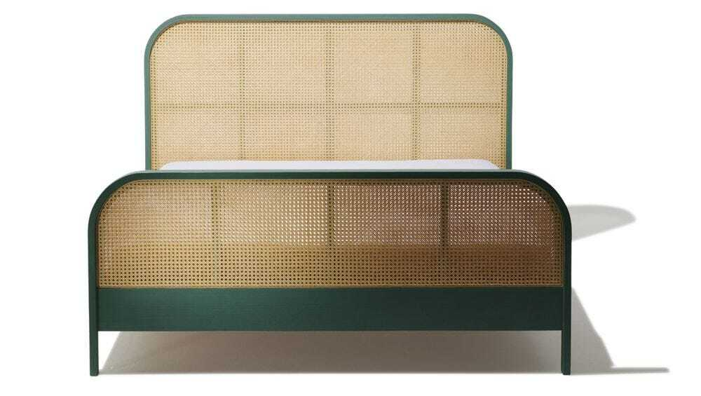 Cane King Bed - Tropical Green