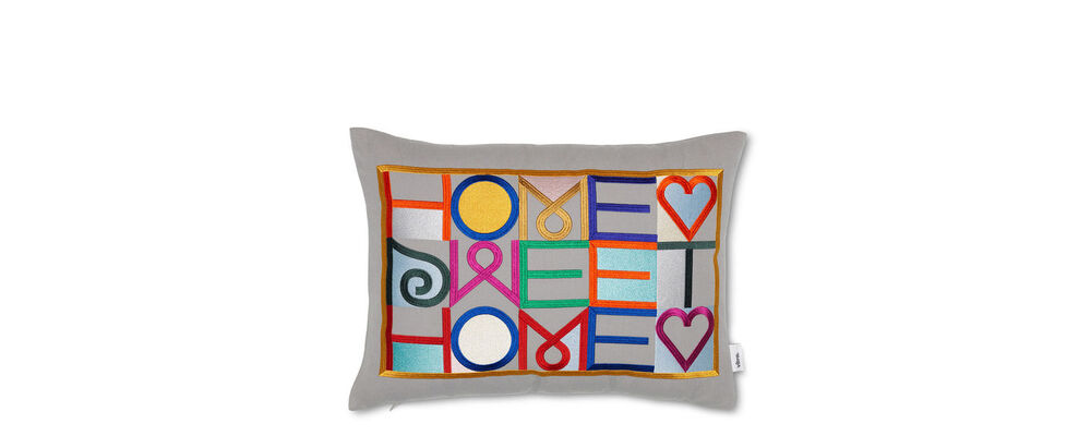 Embroidered Pillows - Home Sweet Home, light grey