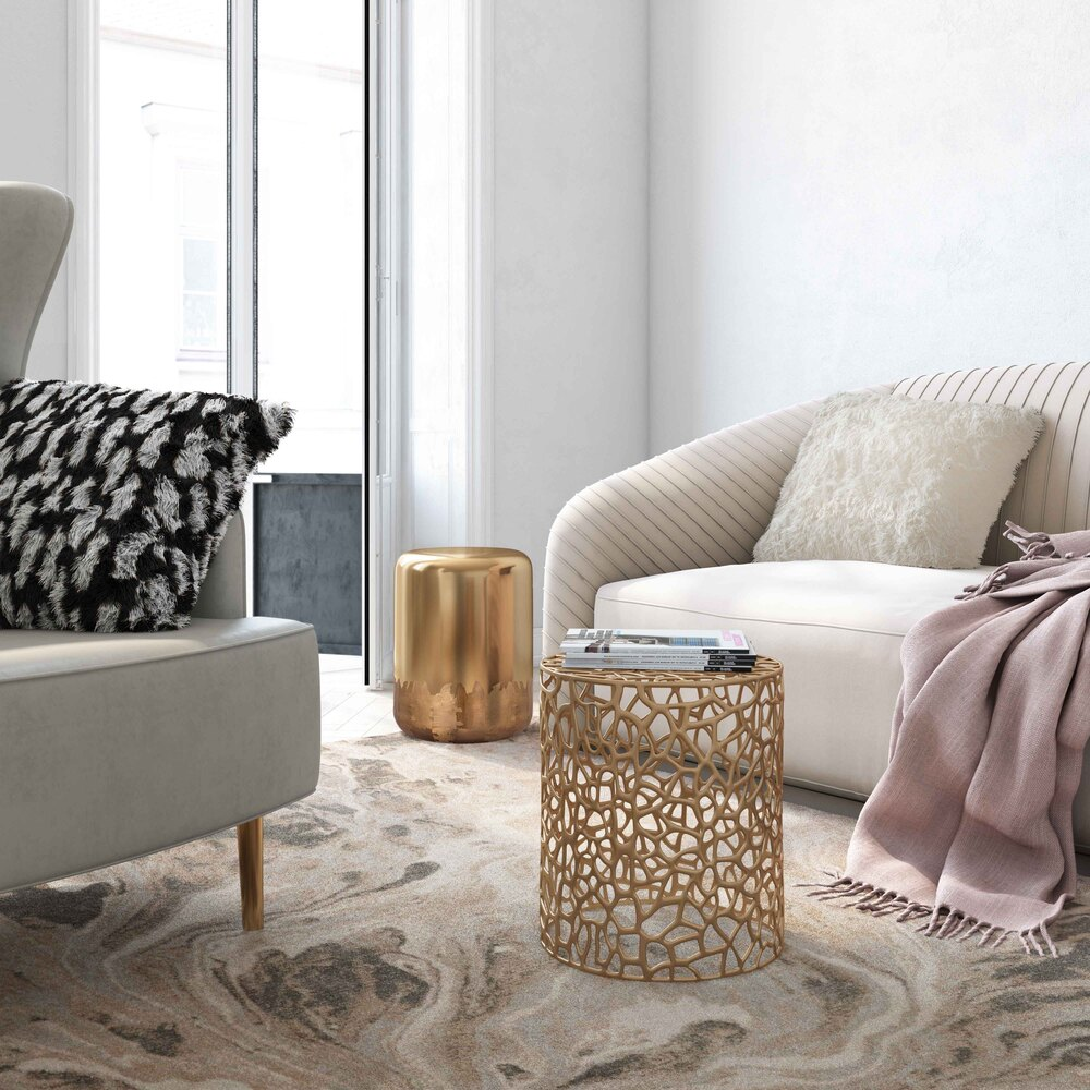 Zoe Gold Side Table/stool By Inspire Me! Home Decor