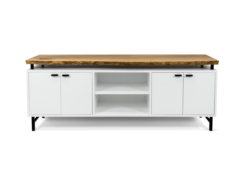 Custom Credenza with Floating Live Edge Top