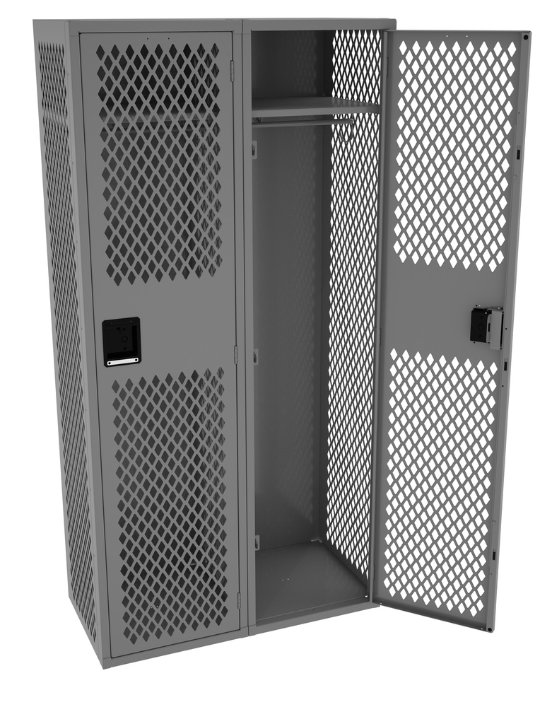 Single Tier Ventilated Locker - Two Wide Without Legs