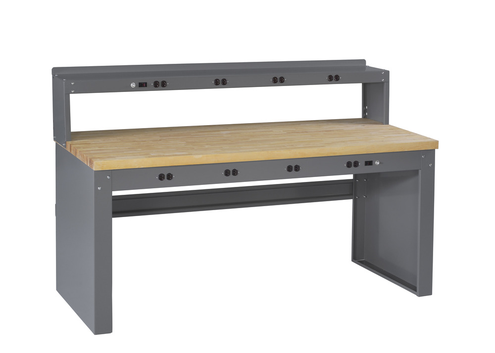 Electronic Workbench With Maple Top, Riser And Panel Legs - EB-2-3072M