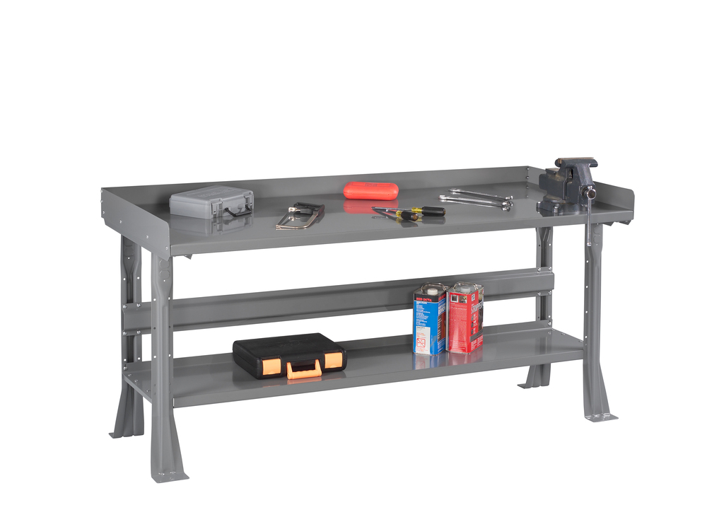 Flared Leg Workbench with Steel Top, Lower Shelf and Side & Back Rail Kit - WB-3-3060S
