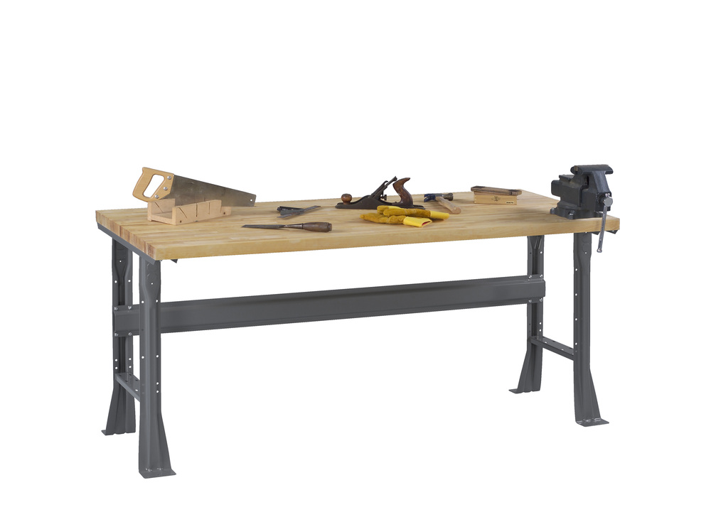 Flared Leg Workbench with Butcher Block Top - WB-1-3060W