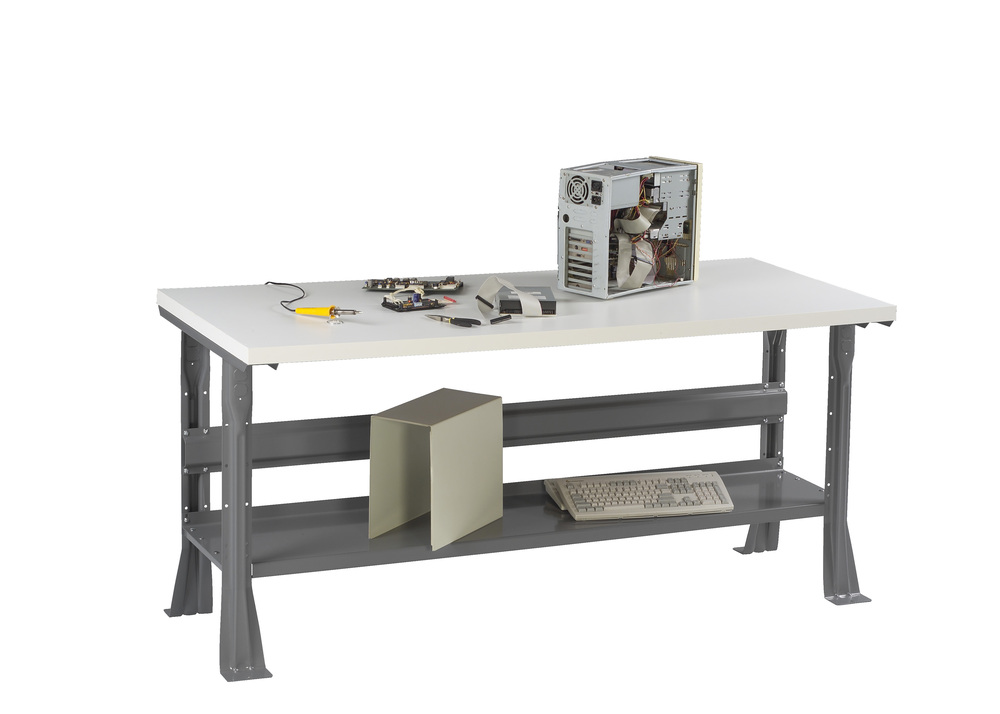 Flared Leg Workbench with Plastic Top and Lower Shelf - WB-2-3060P
