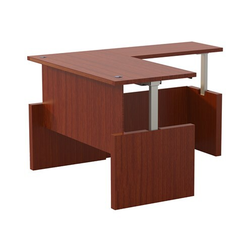 """Aberdeen  Height-Adjustable Desk, Straight Front with Return, 72"""" W"""
