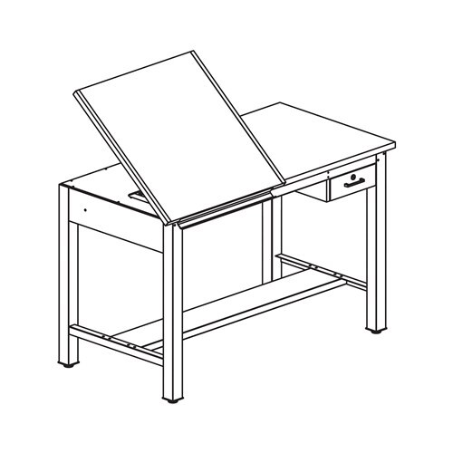 """Ranger Split Top Project Table, Tool Drawer, 60"""" W"""