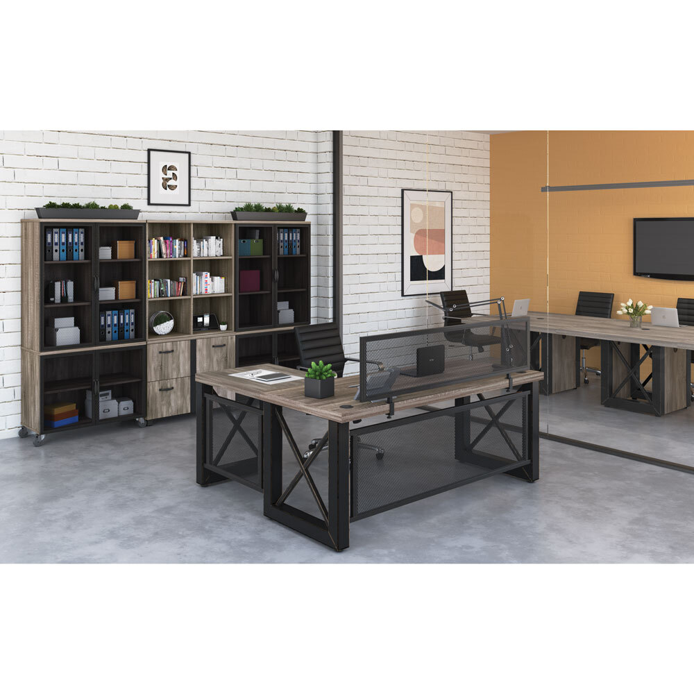 OfficeSource Riveted Collection Industrial Desk with Metal X Base and  Metal Mesh Modesty Panel – 60″W Carousel Image