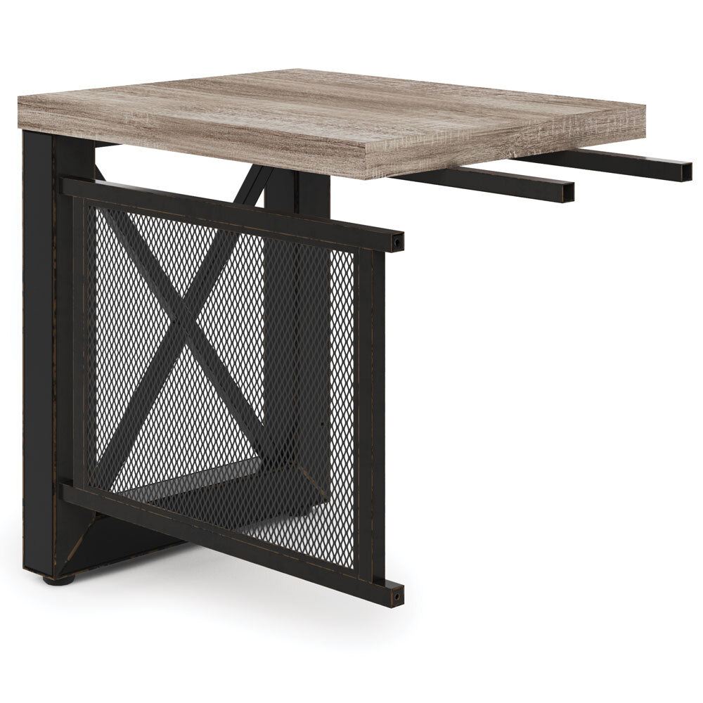 OfficeSource Riveted Collection Industrial Return with Metal X Base & Metal Mesh Modesty Panel