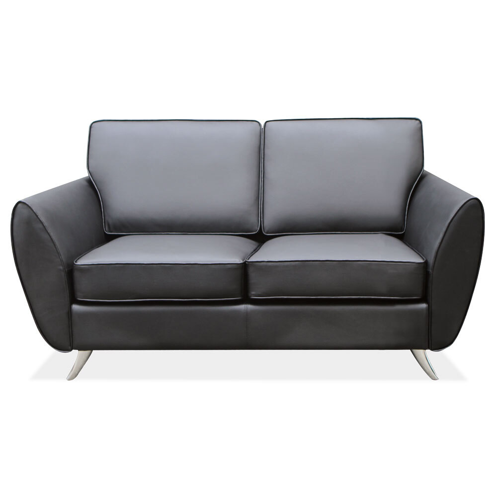 OfficeSource Sterling Collection Loveseat with Brushed Chrome Legs