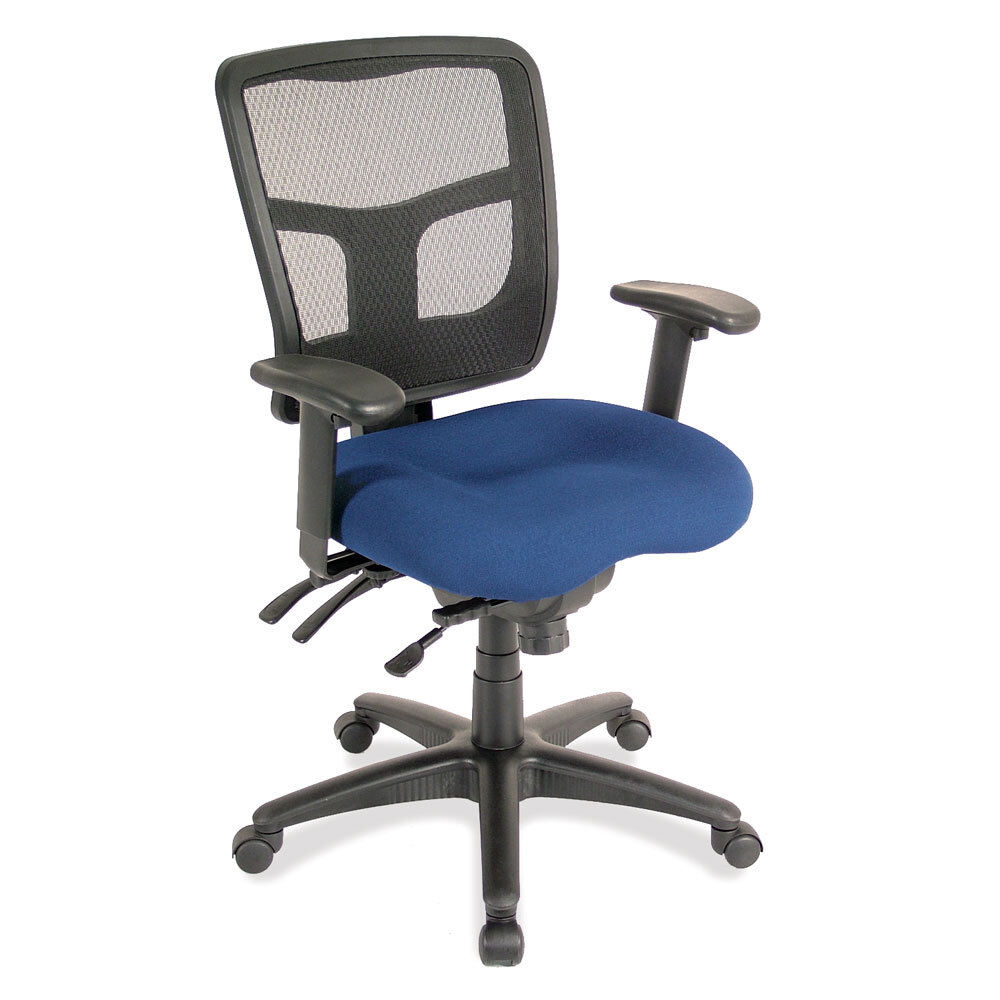 OfficeSource CoolMesh Collection Multi Function, Mid Back Chair with Seat Slider and Black Frame