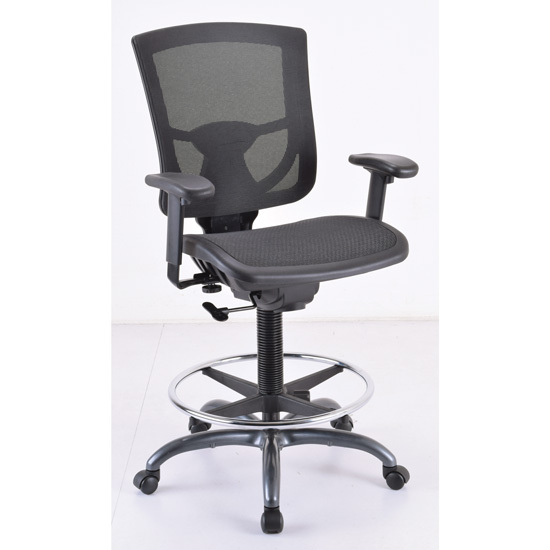 OfficeSource CoolMesh Pro Collection All Mesh  Task Stool with Adjustable Arms and Footring with Black Frame