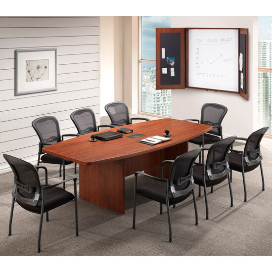 OfficeSource OS Conference Tables Boat Shaped Conference Table with Slab Base - PL236