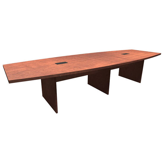 OfficeSource OS Conference Tables Boat Shaped Conference Table with Slab Base - PL238