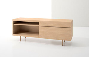 DECCA_INDEX R� CREDENZA WOOD LEGS WITH BOXFILE AND OPEN SHELF1