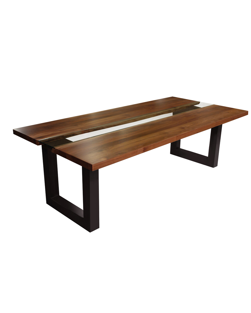 Custom Solid Wood Table with Center Straight Glass