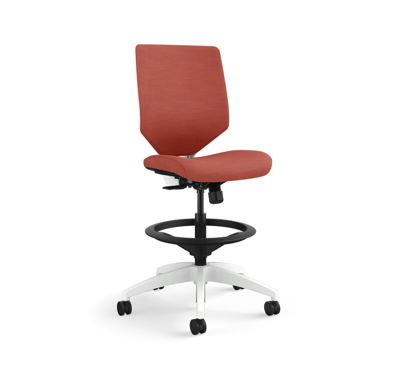Solve Mid-Back Task Stool with White Frame and Knit Mesh Back