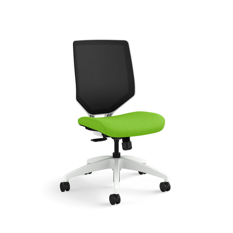 Solve Mid-Back Task Chair with Knit Mesh Back and White Frame