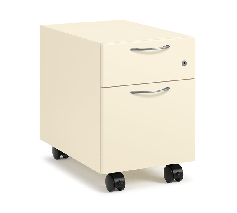 Contain Box/File Mobile Pedestal | Metal Front | Arch Pull