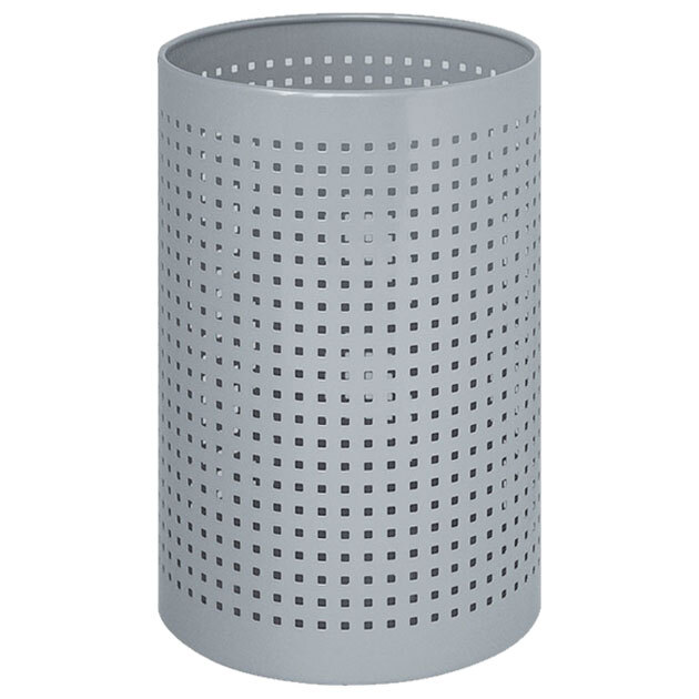 Cylindrical Steel Wastebasket with Square Perforations