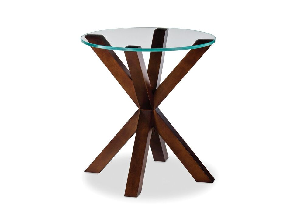 EXCENT EXCENT ROUND END TABLE GLASS TOP