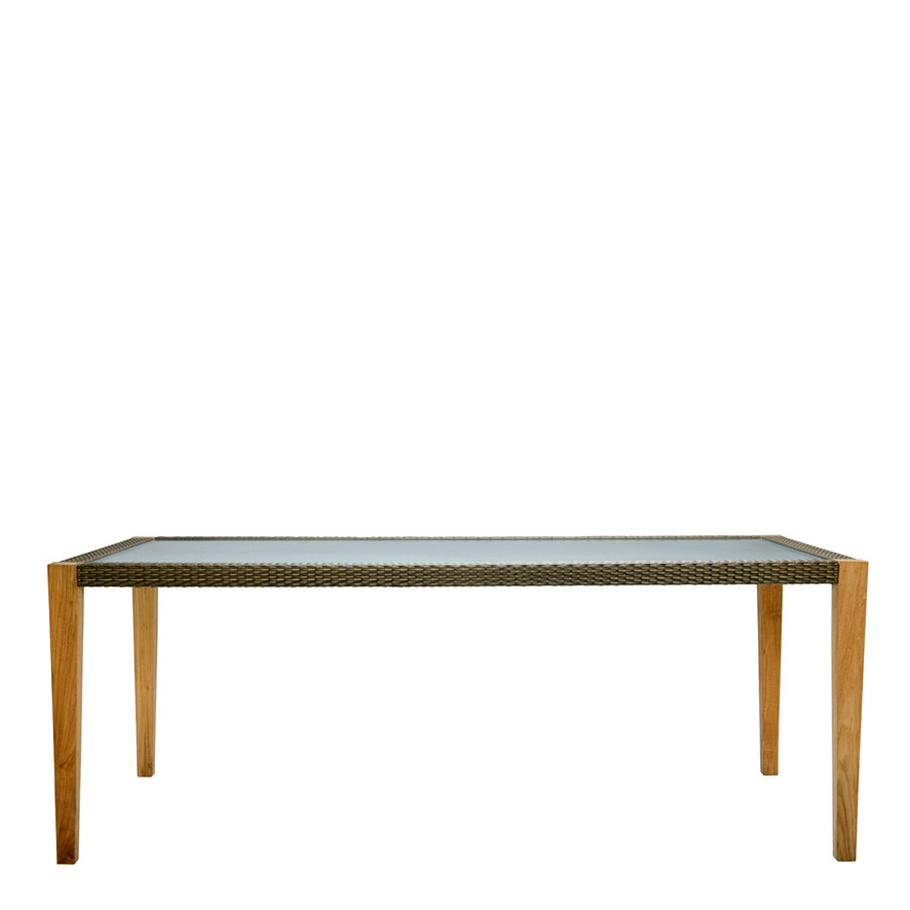QUINTA TEAK / WOVEN DINING TABLE RECTANGLE 200