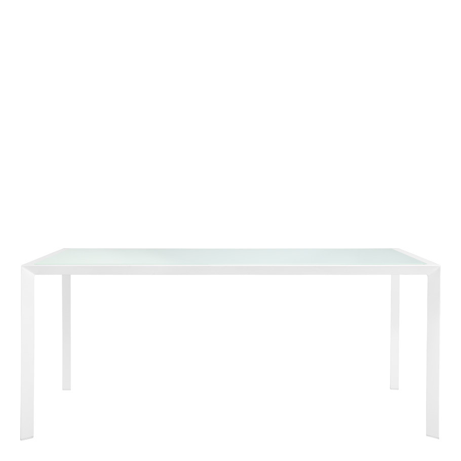 TRIG GLASS TOP DINING TABLE RECTANGLE 180