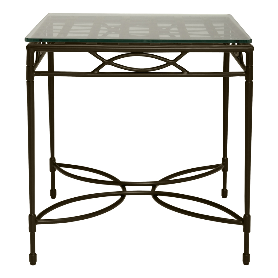 AMALFI WOVEN GLASS TOP SIDE TABLE SQUARE 56